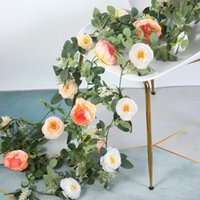 Decorative Flowers & Wreaths Peony Artificial String Fake Plants Eucalyptus Vine Garland Hanging Rattan For Wedding Home Party Garden Craft