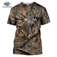 Sonspee летние повседневные мужские футболки камуфляжа охотничьи животные головы оленя 3D футболка мода уличная одежда женские пуловер с коротким рукавом