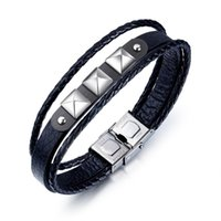 Tennis JHSL Male Men Statement Wrap Bracelets & Bangles High Quality PU Leather And Stainless Steel Boyfriend Gift 2021 Arrival