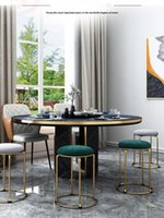 Light luxury living room furniture wrought iron frame round stool golden simple soft seat dining chair can be stacked for easy storage leisure ottoman