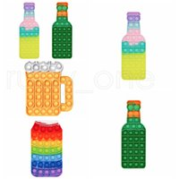 Washable Anti Stress Toys Silicone Rainbow Beers Bottle Beer Cup Cola Bottles Push Bubble Tabletop Puzzle Party Game Holiday Gift RRB9581