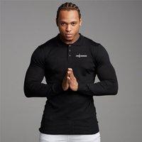 Camisa homens outono nova marca fitness homens casuais manga longa polo camisas masculinas fit cor sólida cor negócio poloshirt