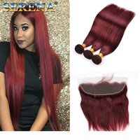 """99J # Borgonha 10 """"-30"""" Extensão de cabelo de pele de pele Red Premium Remy cabelo brasileiro 3 pacotes com fechamento Real natural humano cabelo com"""