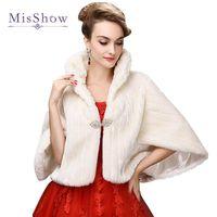 Wraps & Jackets SALE MisShow Bridal Boleros Faux Fur Wedding Accessories Jacket Winter Warm Bride Wrap Shawl Cape Short Coat
