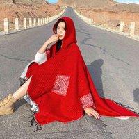 Novo Outono Inverno Com Capuz Xale Vento Tnico Dupla Utilizao Quente Vermelho Deserto Manto Feminino Tibet Qinghai Yunnan Viagem Protetor