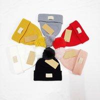 Kid Designer Beanie Hat Solid Color Fur Pom Poms Baby Ski Hats Autumn Winter Print Pattern Ball Caps