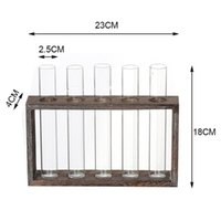 Wall Hanging Glass Planter Propagation Station Test Tube Vase Flower Pots Tabletop Terrarium Decor With Wood Stand Rack Decorative Flowers &