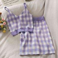Two Piece Dress Terno de verão macio xadrez doce com cote em v, top curto saia para mulheres, bolsa cintura alta, quadril, camisetas Z0LO