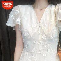 Platycodon Grandiflorum İlk Aşk Küçük Kişi Hafifçe Olgun Rüzgar Süper Peri SEN Stil Uzun Etek Çiçek Beyaz Elbise Çocuk # X85A