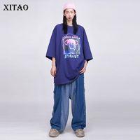 Jeans da donna Xitao Coulisse con coulisse Pantaloni a gamba larga Donne di modo Elegante 2021 Autunno Elastico Pieghelato Pieghelato Minoranza Patchwork Zp2190