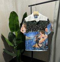 2021 Homens Camisa Primavera e Verão Novo Maré Marca Casual T-Shirt Europeu Americano Ponto Fixo Posicionamento Impressão Digital Confortável Algodão CAMISETA
