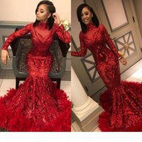 Red Mermaid African Prom Dresses 2020 Feathers Long Sleeve Floor Length Sequined High Neck Formal Evening Dress Party Gowns ogstuff