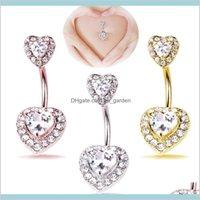 Çift Aşk Kalp Zirkon Kristal Vücut Takı Paslanmaz Çelik Rhinestone Göbek Çan Düğmesi Piercing Yüzükler Kadınlar Için Hediye Bırak Teslimat
