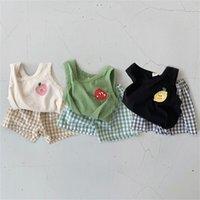 Личные летние летние малыши мальчики одежда набор мягких цветов без рукавов вершины клетки PP шорты детские девушки одежда набор детский костюм 210726