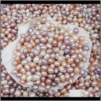 Beads Drop Delivery 2021 Natural Freshwater Oyster No Hole 5-6Mm Bright Rice-Shaped Loose Pearls Real Pearl Different Color Fashion Jewelry W