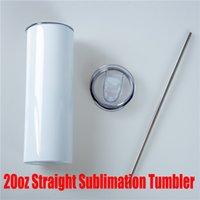 DHL entrega rápida 20 oz wate straight botellas en blanco Sumblimation Tumblers con paja de tapa para tazas de viaje de bricolaje