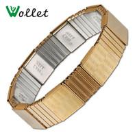 Wollet ювелирные изделия эластичный магнитный браслет здоровье здоровье скважина энергии баланс из нержавеющей стали IP золотой цвет браслет для мужчин