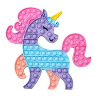 Decompression Fidget Toys colorful unicorn Push Bubble Children Stress Relief Squeeze Toy Antistress Soft Squishy Kids-Toys Gifts