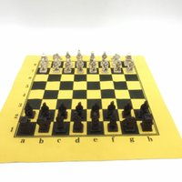 Antico scacchi Set imitazione Chestboard in pelle Cina in terracotta Army Modellazione di scacchi pezzi Board gioco di Go Table Game