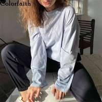 Colorfaith Women Winter Spring T-shirt Solid 10 Colors Bottoming Basic Fashionable Minimalist Oversize Wild Tops T074 210623