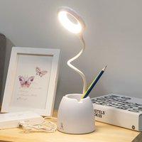 Masa Kitap Işık Dokunmatik Bükülebilir Led Masa Lambası Göz-Korumak Çalışma Katlanabilir Masaüstü Kalem Tutucu USB 3mode Ev Yatak Yan Gece Okuma Beyaz