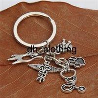 1pair Vet Keyring Stethoscope Animal Charms Animal Dog Cat Nurse Key Chains Veterinary Jewelry Gift E2180