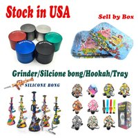 Estoque nos EUA Silicone Bong Hookah Shisha Tubulação de água Herb Sharpstone Grinder Gas Mask Bongs Venda por Box