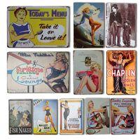 Vintage Pin-up Girl Girl Sticker mural Poster métal rétro Sexy Dame de Métal Garage Maison Cuisine Salle de cuisine Décor Chaplin Film Affiche
