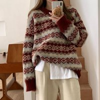 Women's Sweaters 2021 Autumn Winter Retro Jacquard Sweater Korean Style Loose Thick Pullover O-Neck Long Sleeve Women Vintage Knitted Jumper