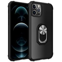 Armor Kickstand Phone Cases For Iphone 13 12 Pro Max 11 XR XS X Samsung S21 Plus Ultra Hybrid Acrylic TPU Magnetic Car Support Cellphone Case back cover