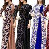 Plus größe frauen dress abendparty mittelalterlich floral druck 3 4 hülse maxi kleid gute qualität frau kleidung