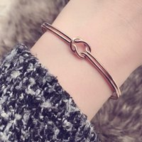 Fashion Double Heart Knot Bangle Cuff Open Bracelet Manchette For Women Gold Silver Summer Jewelry Accessories