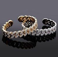 Luxury Fashion 12mm Miami Cuban Chain Bracelets Gold Color Micro Pave Iced Cubic Zirconia Hip Hop Punk DFF4567