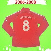 S-2XL de manga larga 2006 2007 2008 Jersey de fútbol Retro 06 07 08 Camisa de fútbol vintage de casa roja clásica Completa Maillot de pie # 8 Gerrard