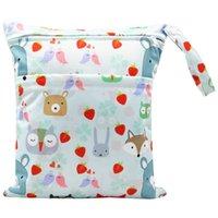 Asenappy Islak Kuru Çanta Ile İki Fermuarlı Bebek Bezi Çanta Nappy Çanta Su Geçirmez Kullanımlık Yıkanabilir 30 * 36 cm GWE8376
