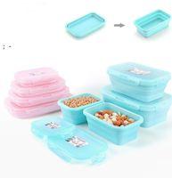 Almoço caixa eco-friendly 4 tamanhos 350ml / 500ml / 800ml / 1200ml recipiente de silicone desmontável portátil Bento Microware Home Cozinha OWD10031