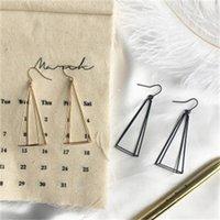 E981 Korean version simple long triangle earhook pyramid stereo Earrings geometric multilateral earrings for women