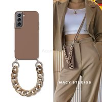 Crossbody Lanyard Necklace Marble Chain Cases For Samsung Galaxy S21 Ultra Plus S20 FE S10 Lite S9 S8 Plus Soft Tpu Back Cover