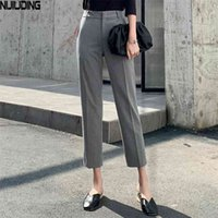 Yüksek Bel Ayak Bileği Uzunlukta Pantolon kadın Pantolon Ofis Bayanlar Kadın Katı Rahat Düz Dipleri Pantalon 210518