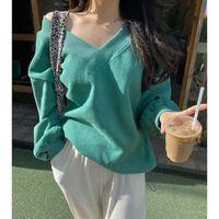 Snordic Oversize Loose Green Fleece Hoodies V Neck Lantern Sleeve Warm Pullovers Casual Sweatshirt Women's & Sweatshirts