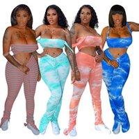 Slip Strap Tie Dye Bodycon Trainingsanzüge Frauen Matching Sets Sexy Club Fashion Skinny 2 Stück Outfits Crop Top und gestapelte Hosen Set