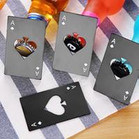 Ace of Spade Flaschenöffner Edelstahl Poker Korkenzieher schwarz Silberöffner Bar Tool Bieröffnungsring Küchenwerkzeuge HWB9626