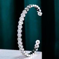 Brazalete brillante de moda apilable para las mujeres Boda de novia Brincos para como MULHERES 2021 Pulsera de alta calidad