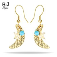 Dangle & Chandelier BOJIU Gold Moon Star Drop Earrings For Women Bohemia Eardrop Ear Hook Pendant Earring Jewelry Christmas Valentine Gift 4