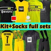 Adulte + Kids Kits + Chaussettes Ensembles complètes 21/22 Dortmund Football Jerseys Jeux Version 2021 2022 Coupe Jersey Haaland Reus Sancho Reyna Belling Hummels Shirts de football
