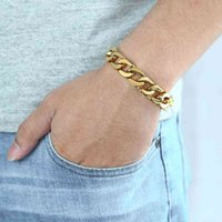Men's Bracelets Hip Hop Gold Cuban Link Chain 316l Stainless Steel Bracelet for Male Jewelry 13mm Khb293