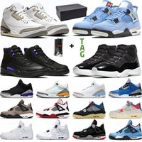 Men Basketball Shoes Black Cement 4s University Blue White O...