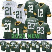 Green Mens Bay American Football Jersey Packer 21 Eric Stokes 12 Aaron Rodgers 23 Jaire Alexander 17 Davante Adams 33 Aaron Jones 55 Za'darius Smith Bart Starr günstig