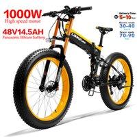 26 인치 접이식 전기 자전거 브러시리스 모터 1000W 48V 14.5A 높은 포크 산악 자전거 4.0 지방 타이어 리튬 배터리 전자 자전거 LED 조명 지구력 60km 27 속도