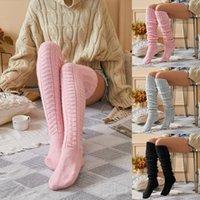 Esportes meias mulheres sobre joelho moda feminino sexy meias quentes de bota longa malha thigh-high cinzento cáqui rosa cáqui preto